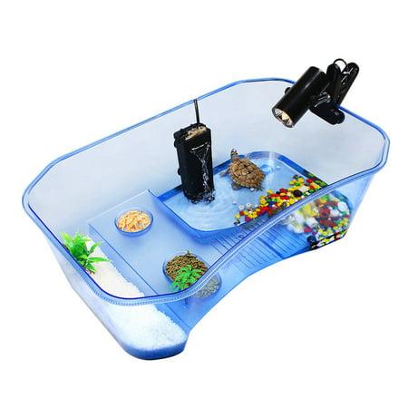 Asewin Reptile Turtle Tortoise Vivarium Box Aquarium Tank with Basking Ramp & Tree ()