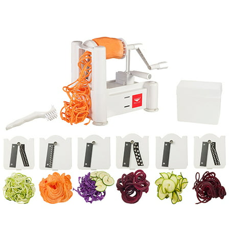 Paderno World Cuisine 6-Blade Spiralizer with Cleaning Brush (Paderno Kitchen)