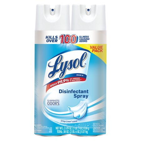 Lysol Disinfectant Spray, Crisp Linen, 38oz (2X19oz)
