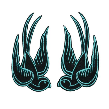 Set of 2 Blue Swallow Bird Patch Tattoo Sparrow 4IN Embroidered Iron On - Tattoos Of Birds