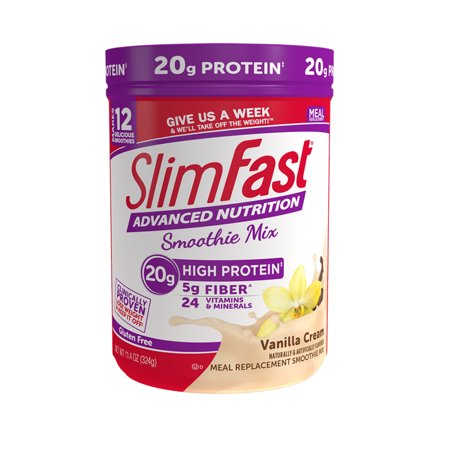 SlimFast Advanced Nutrition High Protein Smoothie Mix Powder, Vanilla Cream, 11.4oz (12 servings) ()