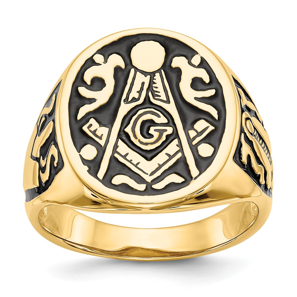 14k Yellow Gold Men's Masonic Ring