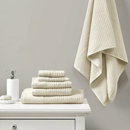 6pc Spa Waffle Jacquard Cotton Bath Towel Set Taupe