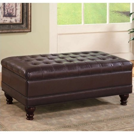 Sensational Kingfisher Lane Oversized Faux Leather Storage Ottoman In Dark Brown Evergreenethics Interior Chair Design Evergreenethicsorg