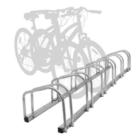 WALFRONT 4/5 Bike Rack Bicycle Stand Cycling Rack - Bike Parking Rack - Bike Bicycle Floor Parking Stand Storage Rack Holder Dismountable Portable Steel,Wheel Pushing-in Design Bicycle Organizer