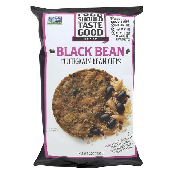 Food Should Taste Good Black Bean Multigrain Bean Chips - Black Bean Multigrain - Pack of 12 - 5.5 Oz.