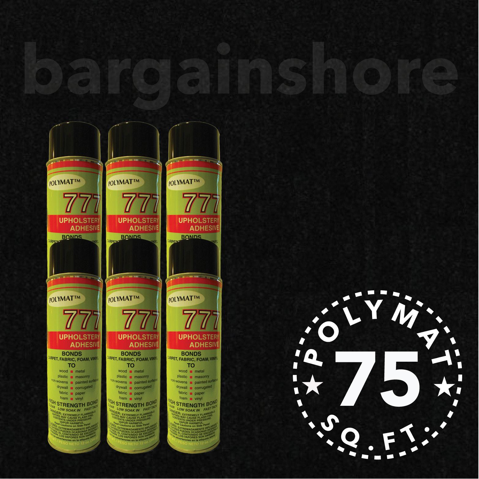20FT x 3.75FT BLACK Speaker Box Carpet +6 Cans 777 Fabric Spray Glue…