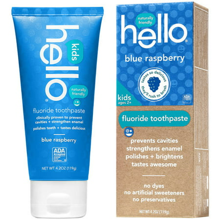 Hello Naturellement bienvenus Blue Raspberry enfants, 4.2 Fluoride Toothpaste oz
