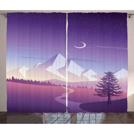 Northwoods Curtains 2 Panels Set, Mountain Scenery with Lonely Pine Tree River and Hills at the Back, Window Drapes for Living Room Bedroom, 108W X 108L Inches, Violet Pink Pale Grey, by Ambesonne