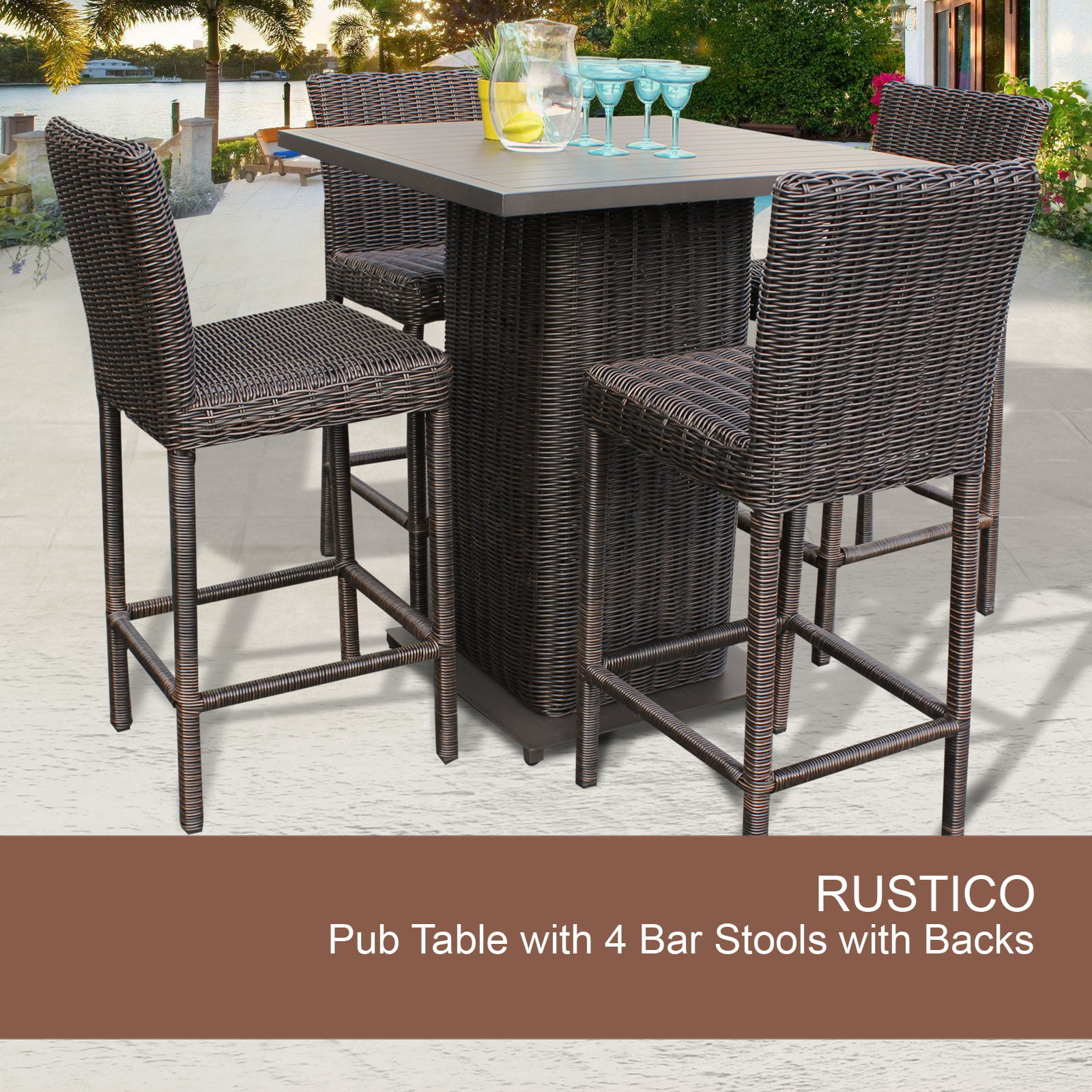 Rustico Pub Table Set With Barstools 5 Piece Outdoor Wicker Patio Furniture    Walmart.com