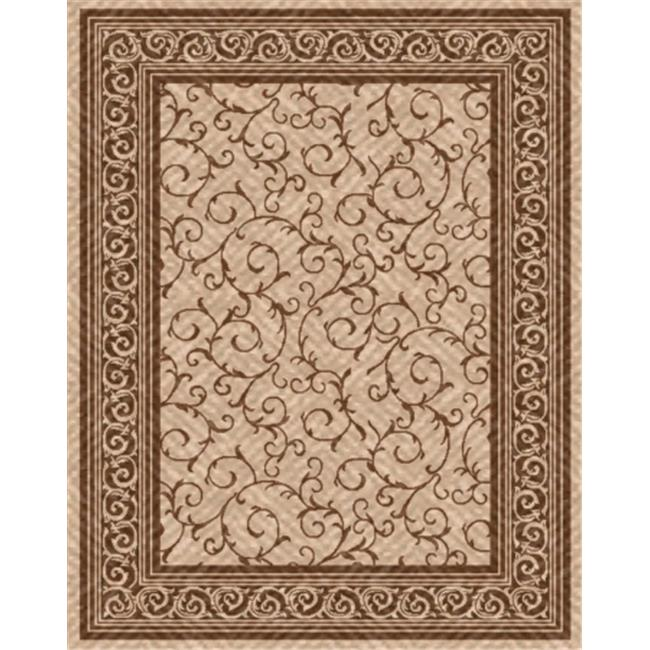 IMS 26071130205089 5 ft.  x 8 ft.  HEAVYWEIGHT OUTDOOR PATIO RUG-GREEK KEY PATTERN-BEIGE & BROWN