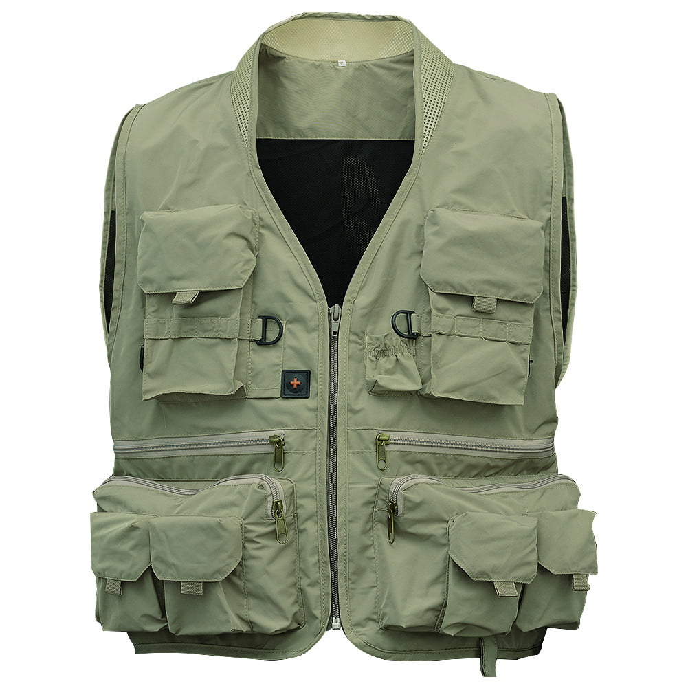Men's Multifunction Pockets Travels Sports Fishing Vest Outdoor Vest XXL Green by