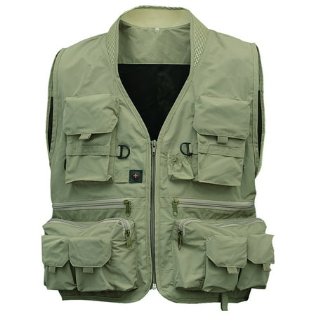 Men's Multifunction Pockets Travels Sports Fishing Vest Outdoor Vest L Khaki Green XXL thumbnail