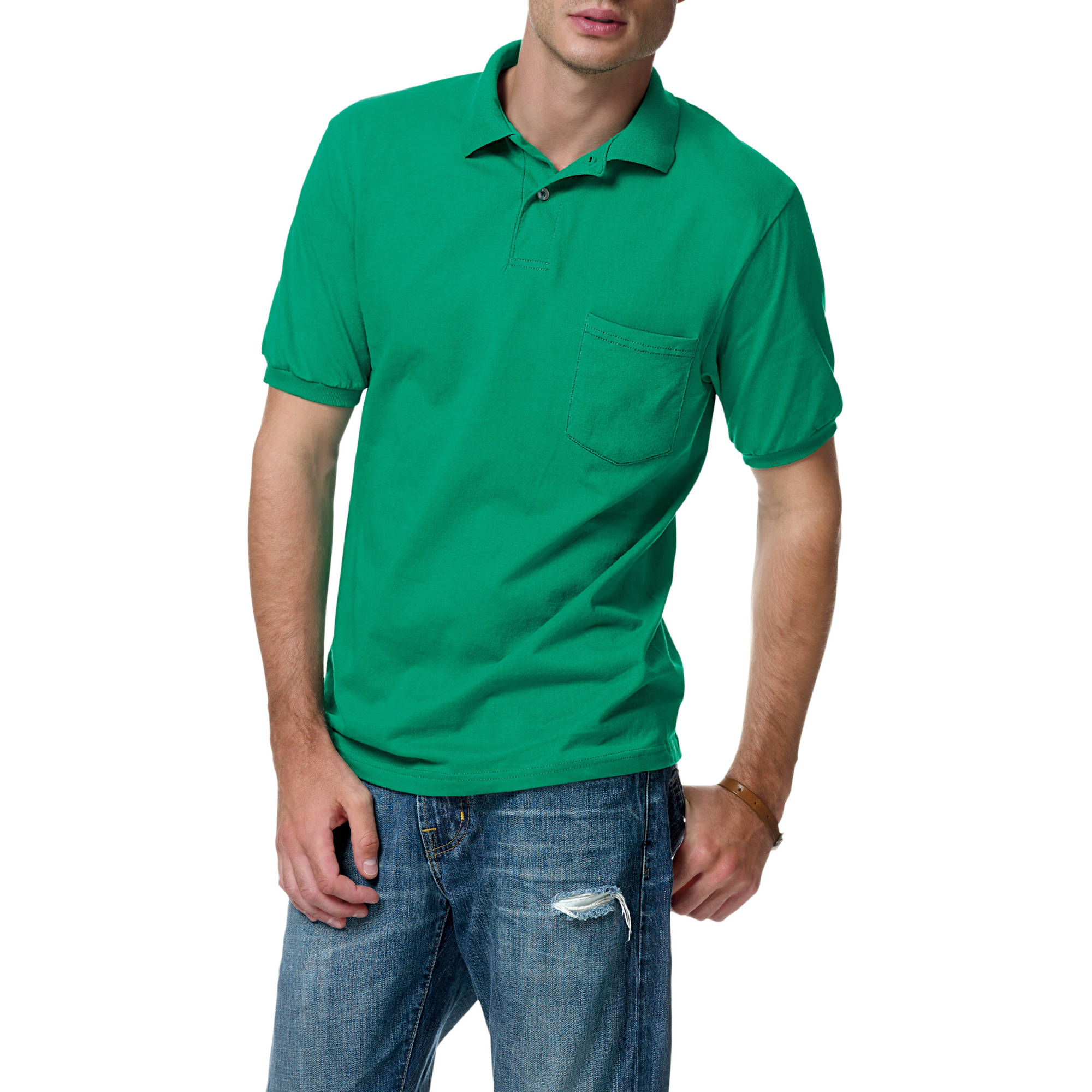 Hanes Men's Comfortblend EcoSmart Jersey Polo with Pocket