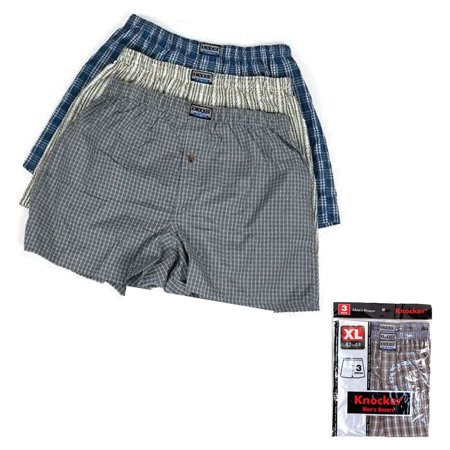 Blue Boxer Shorts (3 Men Boxers Plaid Shorts Undewear Lot Briefs Size M 34-36 L 38-40 XL 42-44 2XL)