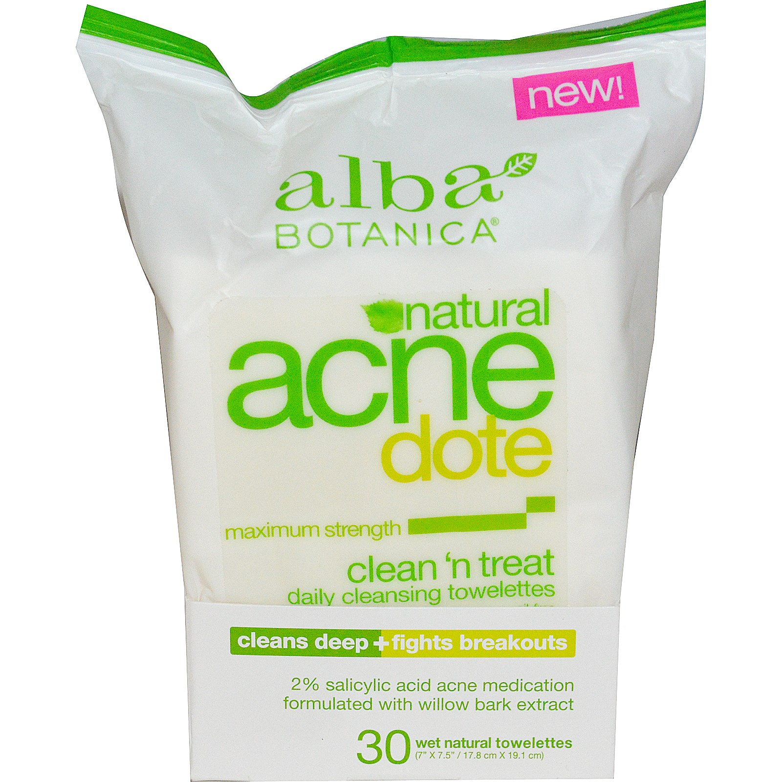 Alba Botanica Acnedote Clean n Treat Daily Cleansing Towelettes 30 ea (Pack of 6) 4 Pack - Freeman Facial Revealing Peel -Off Mask, Pomegranate, 6 oz