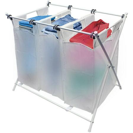 sorbus folding laundry basket hamper foldable sorter cart with 3 removable bags. Black Bedroom Furniture Sets. Home Design Ideas