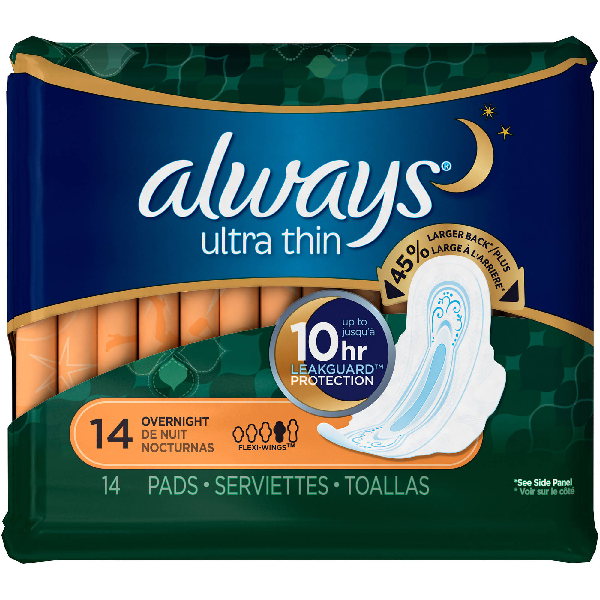 Always Ultra Thin Overnight Pads with Flexi-Wings, (Choose your Count)