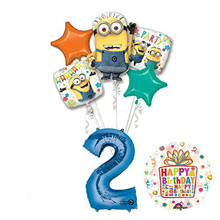 Despicable Me 3 Minions 2nd Birthday Party Supplies and balloon Decorations](Minion Birthday Decorations)