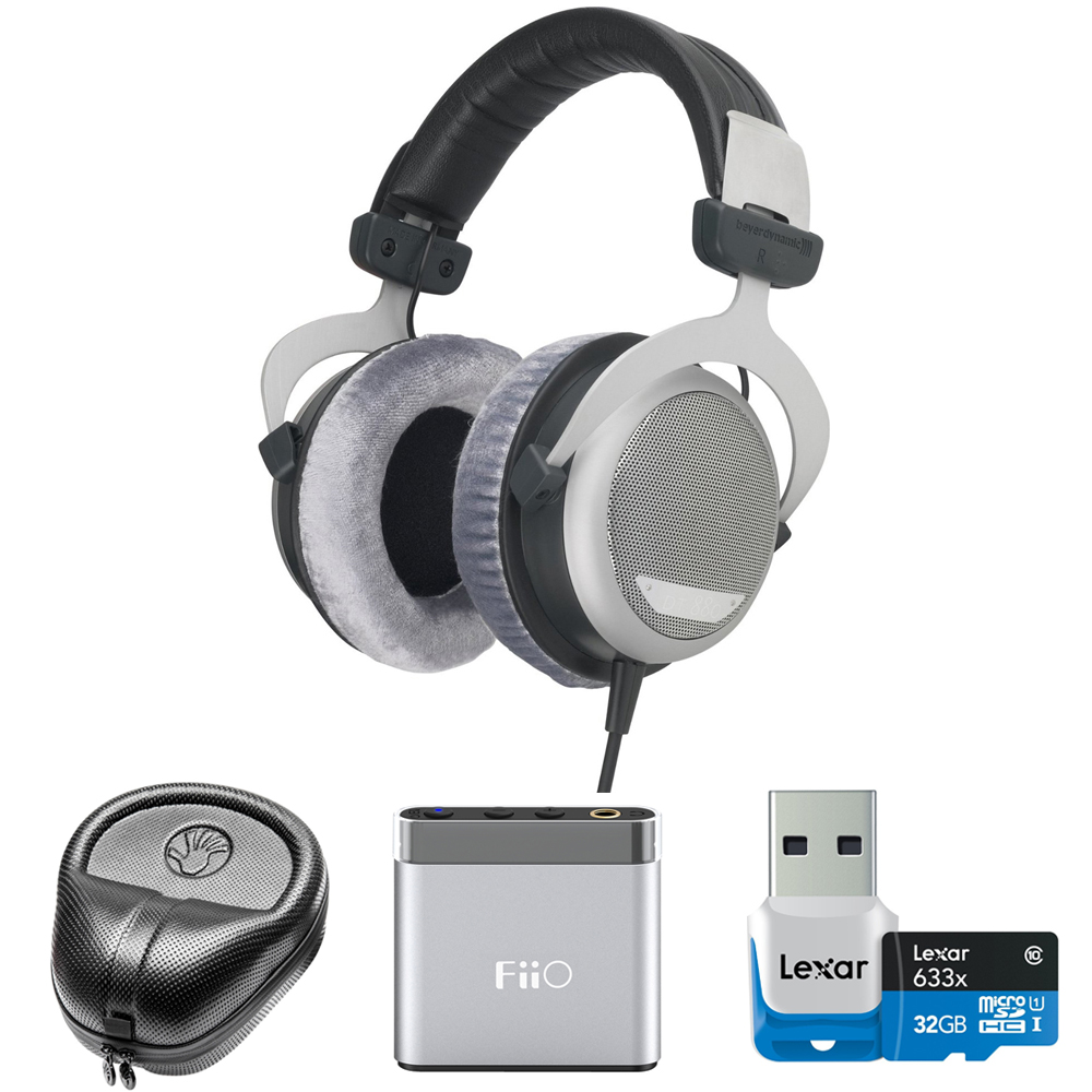 BeyerDynamic DT 880 Premium Headphones 600 OHM (491322) with Slappa HardBody Headphone Case, FiiO A1 Port. Headphone Amplifier & Lexar 32GB microSDHC Memory Card w/ USB 3.0 reader