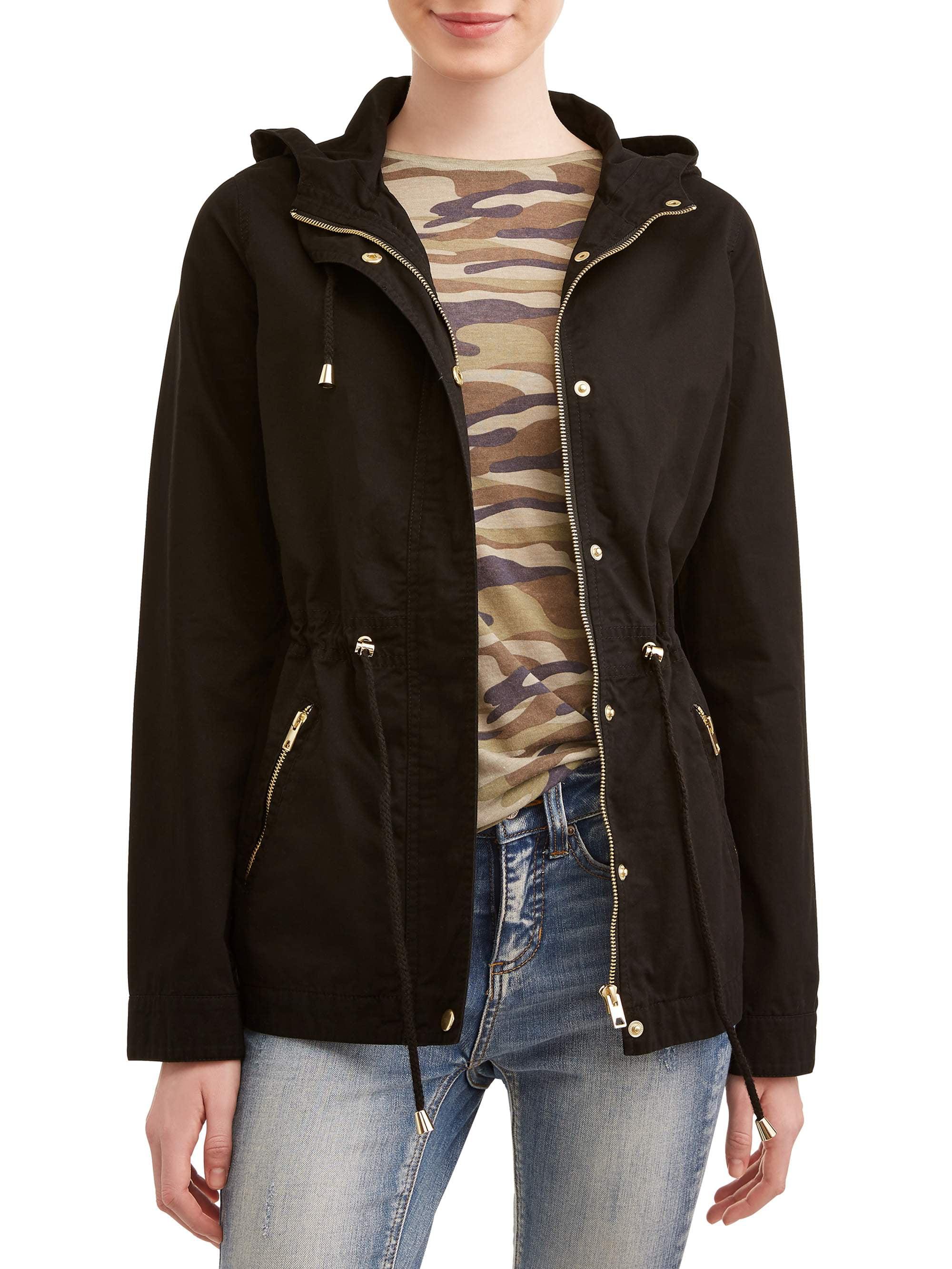 Juniors' Zip Up Pocket Front Hooded Anorak Jacket