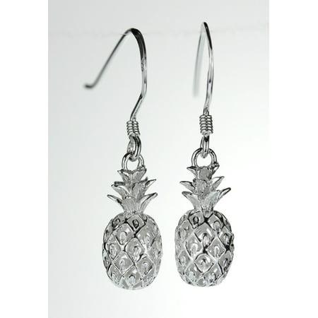 Hawaiian Jewelry - R.H. Jewelry Sterling Silver 3D Pineapple Hawaiian Earrings