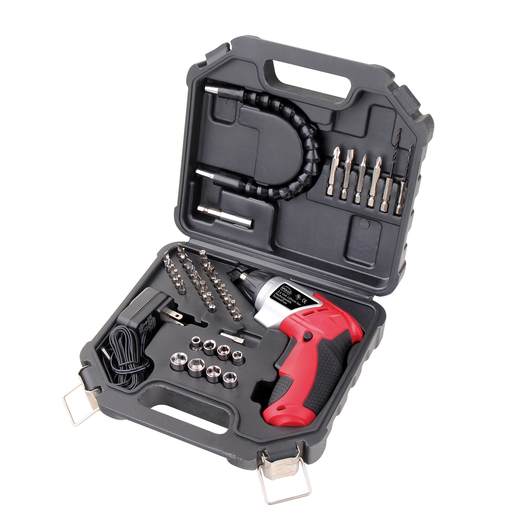Apollo Tools DT4944 3.6-Volt Li-Ion Screwdriver with 45 Accessories