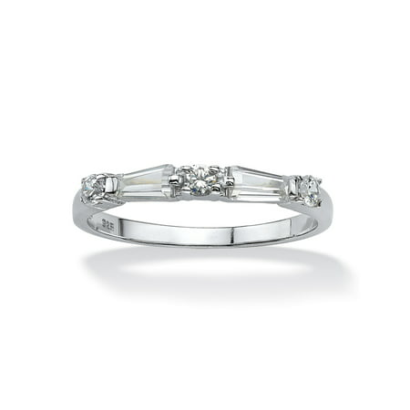 .98 TCW Round and Baguette Cubic Zirconia Ring in Sterling Silver