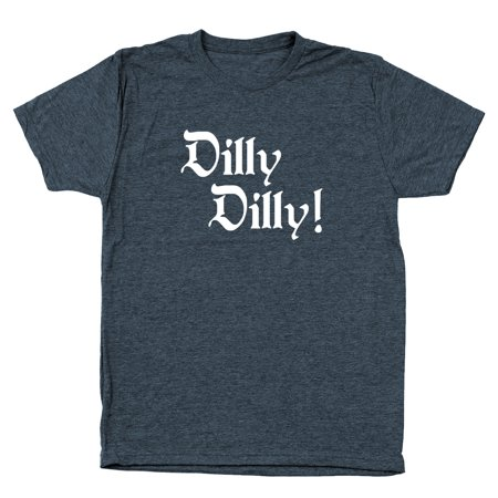 Dilly Dilly  Cheer Small Heather Navy Men's Tri-Blend - Teen Cheer