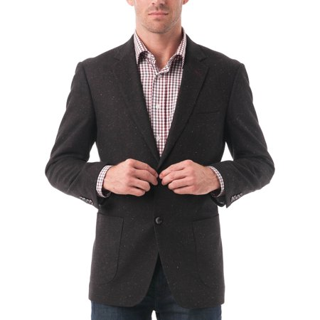 Belted Textured Wool Blend - Big Men's Black Textured Color Flecked Wool Blend Blazer
