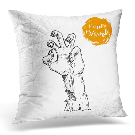 Halloween Flyer Generator (USART Sketch Zombie Hand Sticking Out from The Ground Halloween Undead Rise Symbol for Party and Flyers Pillow Case Pillow Cover 20x20)