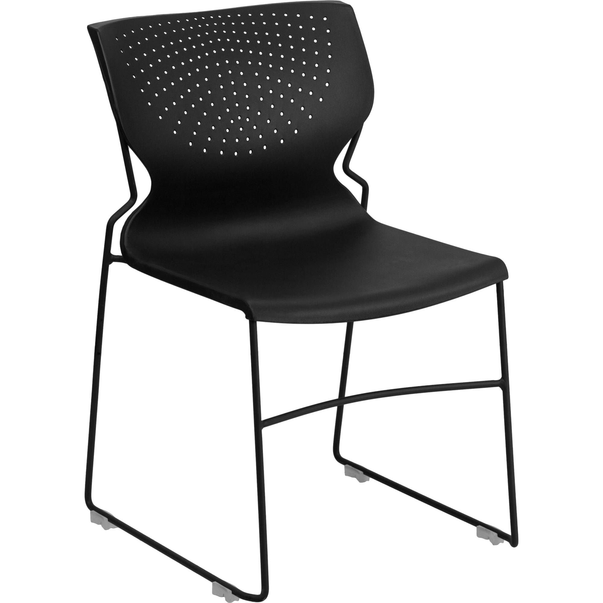 Flash Furniture HERCULES Series 661 lb. Capacity Black Full Back Stack Chair with Black Frame