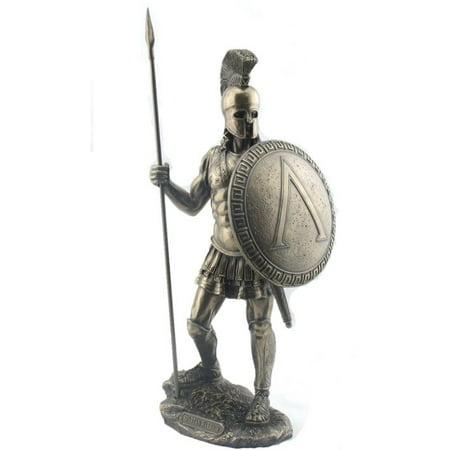 Hoplite Spear - 14.38 Inch Spartan Warrior with Spear and Hoplite Shield Figurine