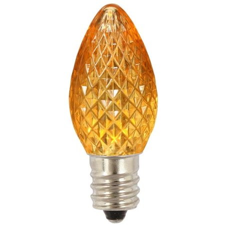 C7 Faceted LED Yellow Bulb .38W 25ea