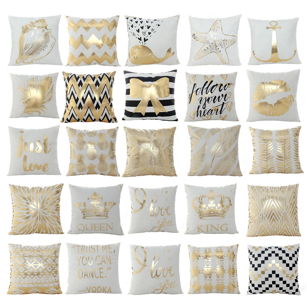 Girl12Queen Gilding Love Heart Pineapple Print Pillow Cushion Cover Case Car Home Decor