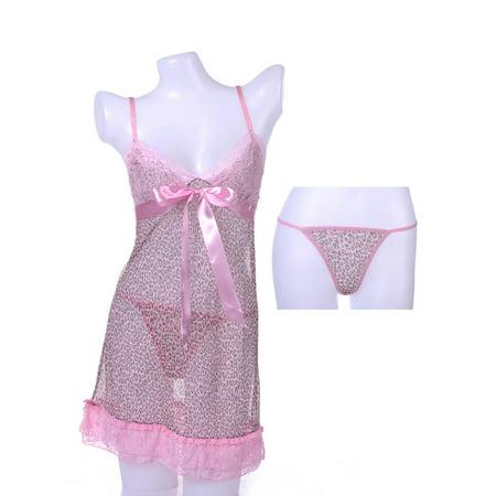 Pink Cheetah Print (S/M Fit Pink Cheetah Print Tiered Flounced Hem Lacey Cups)