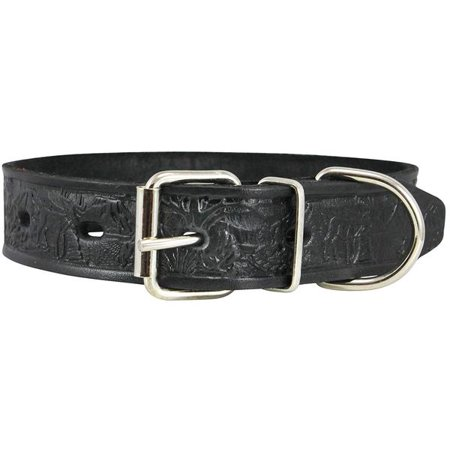 Dogs My Love Genuine Tooled Leather Dog Collar Hunting Pattern Black 3 Sizes (Neck Circumf: 10