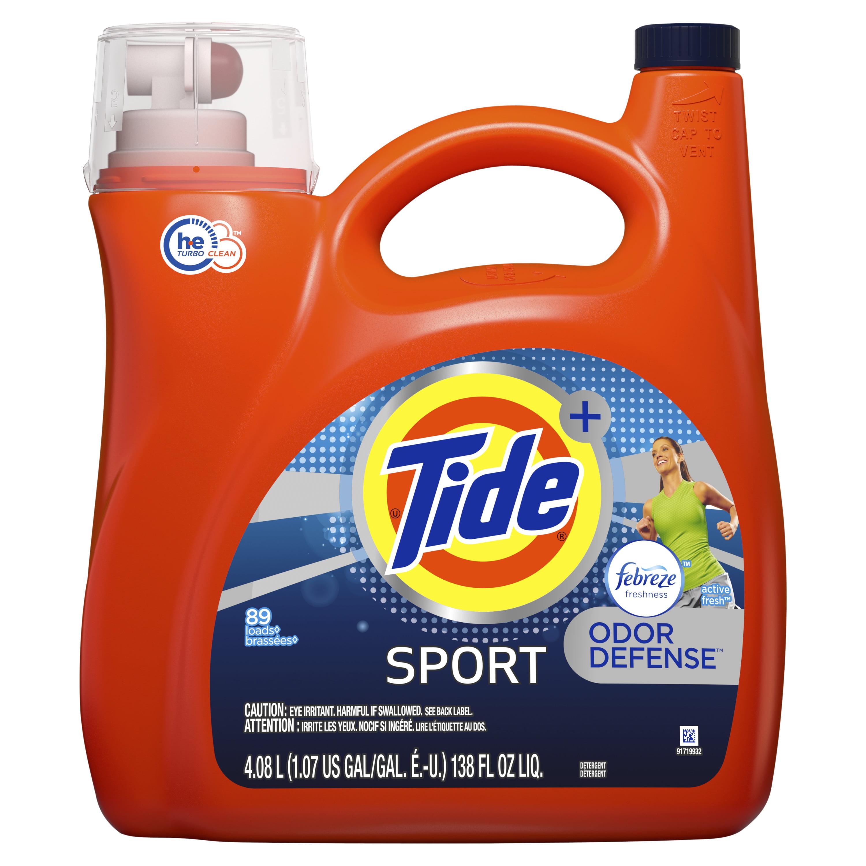 Tide Plus Febreze Sport Odor Defense HE Turbo Clean Liquid Laundry Detergent, 138 fl oz 89 loads