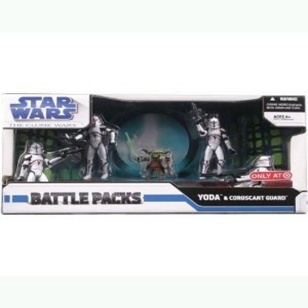 "Star Wars Clone War Battle Pack - Yoda & Coruscant Guard 3.75"" Figures"