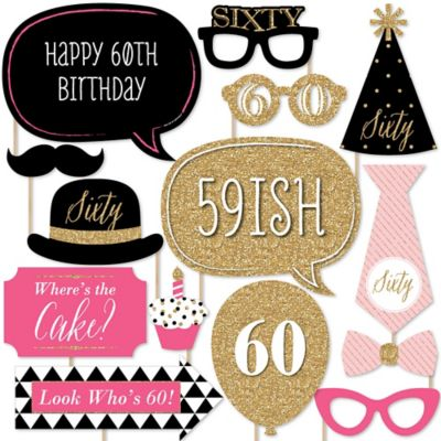 60th Birthday Party Plates (Chic 60th Birthday - Pink, Black and Gold - Photo Booth Props Kit - 20)