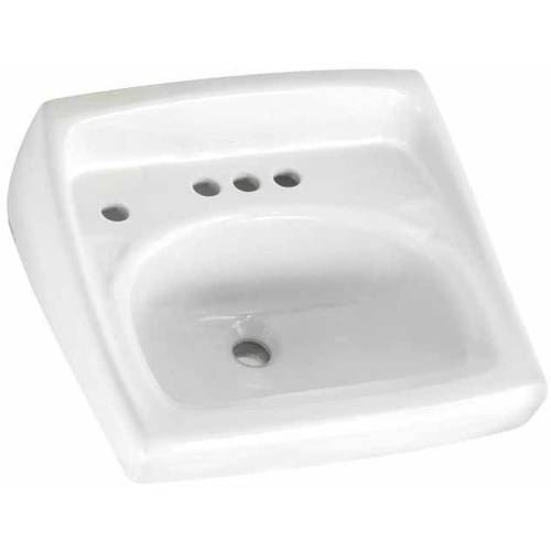 American Standard 0355.056.020 Lucerne Wall Mounted Lavatory Sink for Wall Hangers (included) or Concealed Arms (not included) with Three Faucet Holes (4 Centers), White