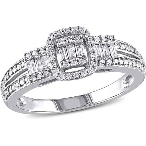 Miabella 1/3 Carat T.W. Baguette- and Round-Cut Diamond 10kt White Gold Engagement Ring