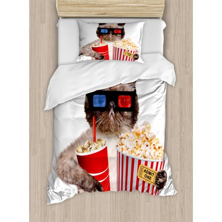 Movie Theater Decor Twin Size Duvet Cover Set  Cat With Popcorn And Drink Watching Movie Glasses Entertainment Cinema  Decorative 2 Piece Bedding Set With 1 Pillow Sham  Multicolor  By Ambesonne