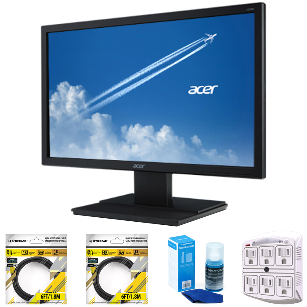 "Acer 19.5"" LED Backlit HD LCD Monitor Black (UM.IV6AA.A02) with 2x 6ft High Speed HDMI Cable, Universal Screen Cleaner for LED TVs, Stanley SurgePro 750 Joule 6-Outlet Surge Adapter with Night Light"
