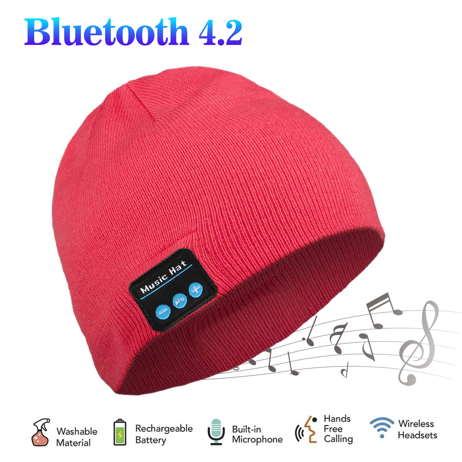 Bluetooth Beanie Hat, Wireless Bluetooth Music Warm Cap with Control Panel, Removable Headphones, USB Charger, Noise Reduction, Handfree Calling Fit for Outdoor Sports/Skiing/Running/Skating
