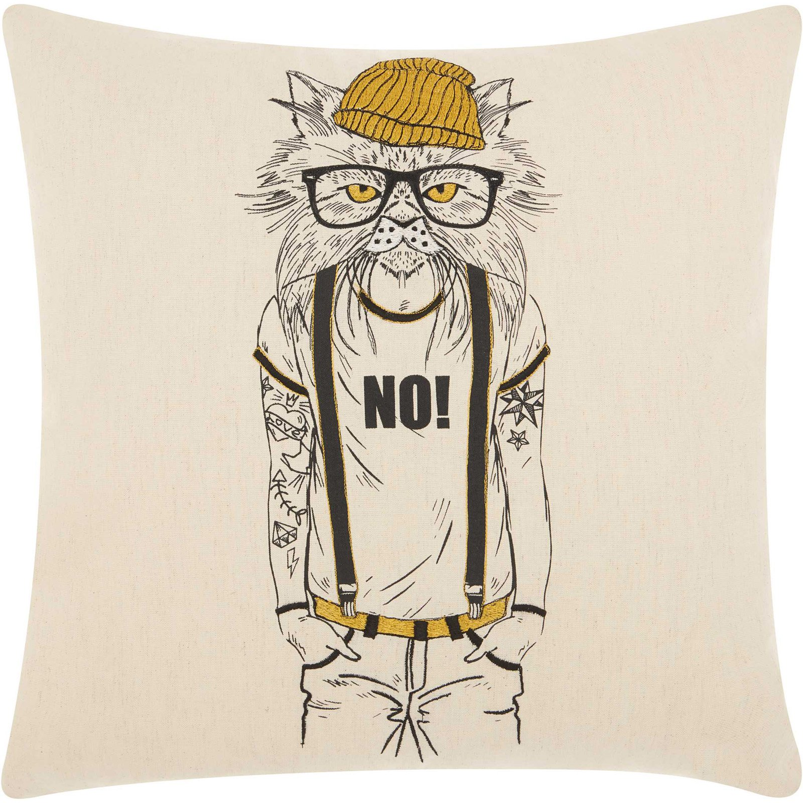 Nourison tattooed cat natural decorative throw pillow