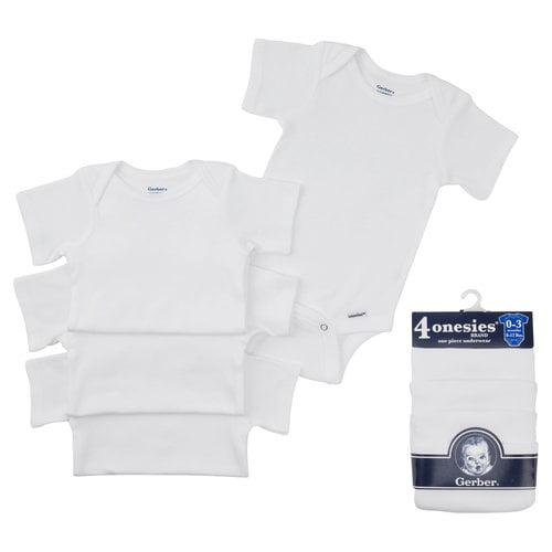 Gerber Onesies Brand White 4-Pack 1-piece Underwear