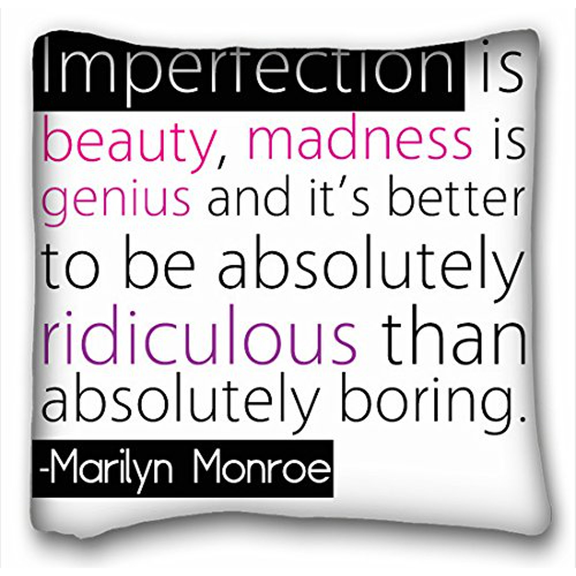 Rylablue Famous Quotes Imperfection Is Beauty Madness Is Genius Pillowcase Pillow Cover Case Covers Size 18x18 Inches Two Side Print Walmart Canada