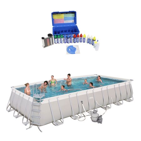 Bestway 24 Foot Rectangular Frame Swimming Pool w/ Taylor Pool Water Test