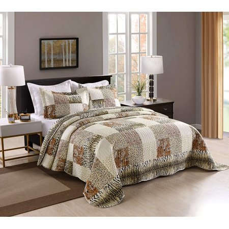 MarCielo 3 Piece Quilted Bedspread Leopard Print Quilt Quilt Set Bedding Throw Blanket Coverlet Animal Print Bedspread Ensemble Cheetah King Oversize(Cal King) ()